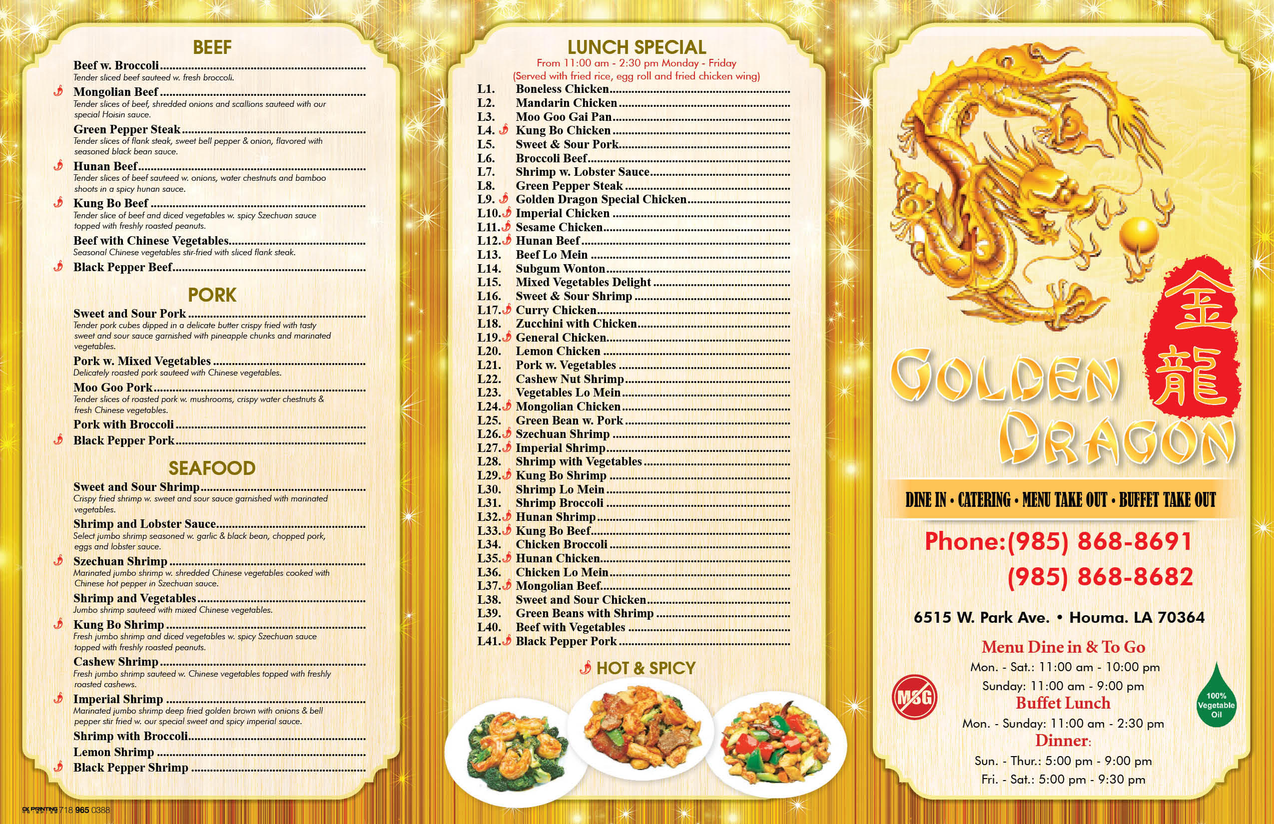 Golden dragon in houma la for menu drinking with steroids